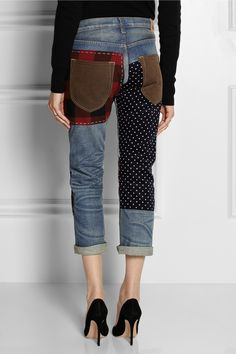 Update an old pair of jeans with patches --- Junya Watanabe | Patchwork cropped straight-leg jeans | NET-A-PORTER.COM