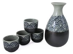 Traditional Japanese Sea Wave Porcelain Sake Set