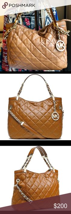 "Michael Kors Susannah Medium Quilted Leather Bag Walnut colored medium-sized Michael Kors leather shoulder bag. It was a gift, and it's pretty but not my style. I used it for a few months. There is a tiny scuff on the inside of one of the straps, shown in picture. Excellent used condition. Comes with white ""Michael Kors"" dustbag. Michael Kors Bags Shoulder Bags"