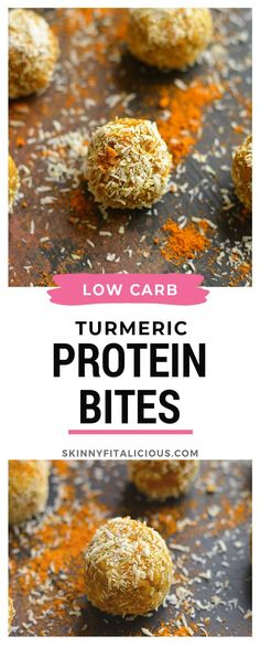 Low Carb Turmeric Protein Bites make the perfect sugar free snack! Low Carb Turmeric Protein Bites make the perfect sugar free snack! Gluten Free Lasagna, Gluten Free Meal Plan, Paleo Meal Plan, Protein Packed Snacks, Protein Bites, Healthy Snacks, Paleo Recipes Easy, Gluten Free Recipes, Snack Recipes
