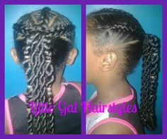 3 Cornrows and two strand twist ponytail