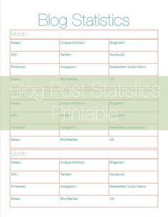 A Dose of Paige: Free Blog Statistics Printable