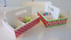 Kado voor de juffendag: theedoosje van Action beplakt en gevuld met kleine bureauspullen.