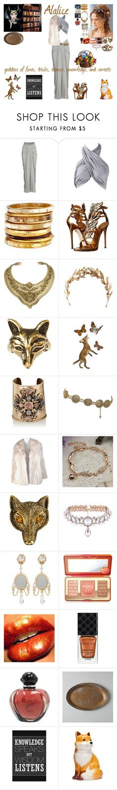 """""""rpg, goddess of foxes"""" by frostedrose ❤ liked on Polyvore featuring Rick Owens Lilies, Ashley Pittman, Giuseppe Zanotti, Aurélie Bidermann, Laurel Wreath Collection, White Leaf, Masquerade, Goossens, Chanel and Saga Furs"""