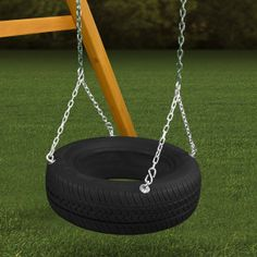 Get the 4 Chain Rubber Tire Swing from Gorilla Playsets. It can be mounted into the space of any wooden playset that already has a standard swing.