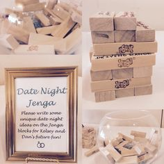 Bridal Shower Date Night Jenga! Have guests write date night ideas on Jenga blocks for the bride and groom to play and use later! #bridalshower -krissynikole