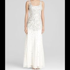 """Flash Sale‼️ Ivory Beaded Sleeveless Formal Dress Size 12 : Bust: 39"""" Waist: 31"""" Hips: 41"""" - Self/lining: polyester - Spot clean - Made in India - Scoop neck, sleeveless, allover embellishments -Scoop back, concealed zip back with hook-and-eye closure, mesh godets, lined Adrianna Papell Dresses"""