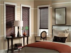 Dark blinds with white molding | Stained blinds with white trim | Pin…