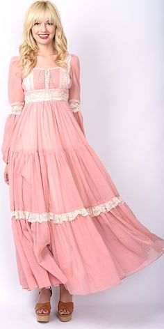 Vintage 70s Dusty Rose GUNNE SAX Dress Hippie Boho Sheer Lace Festival Maxi XS