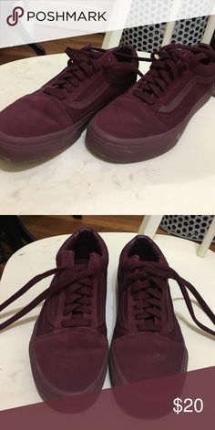 Vans Old Skool Sneakers Vans Old Skool sneakers in a very trendy monotone maroon-- perfect for fall! Only worn one time! Vans Shoes Sneakers