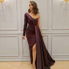 Fashion one-shoulder long sleeves prom evening dress high slit appliques beaded detachable skirt evening dresses