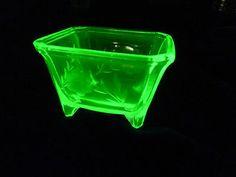 Fostoria Etched Vaseline Glass Square Footed Trinket Dish Bowl | eBay