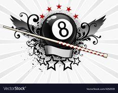 Billiards Emblem vector image on VectorStock Bike Tattoos, Badass Tattoos, Billard Design, Card Tattoo Designs, Magic 8 Ball, Love Heart Images, Trash Polka Tattoo, Club Design, Tatoo