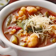 Italian Vegetable Soup (Crock Recipe)  Yields: 6 servings    V & D  With fiber-rich veggies and barley, this soup makes a filling and delicious supper. Pesto adds zippiness to the tomato broth.