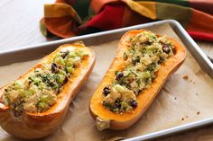 This flavourful stuffed butternut squash is a healthy vegan-friendly side dish that's easy to make, yet beautiful enough to impress your holiday guests.