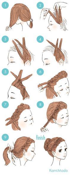 Kawaii Hairstyles, Cute Hairstyles, Braided Hairstyles, Short Hair Updo, Curly Hair Styles, Cute Simple Hairstyles, Stylish Hair, How To Make Hair, Hair Designs