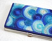 Business Card Case in Blue and Teal Polymer Clay Filigree