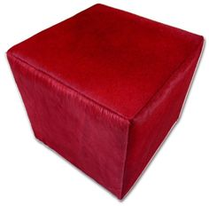 Red Cowhide Cube Ottoman Footstool Red Cowhide by Cowhidesusa Cowhide Furniture, Cowhide Ottoman, Ottoman Footstool, Leather Furniture, Cowhide Leather, Red Leather, Ottomans, Cow Hide Rug, Cube