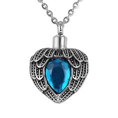 VALYRIA Memorial Jewelry Angel Wing Birthstone Necklace Urn Keepsake Cremation Ashes Pendant,Blue(December) *** See this great image @