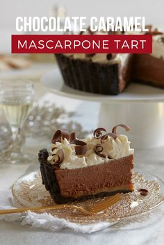 """Chocolate Caramel Mascarpone Tart  Every holiday celebration needs a luscious dessert with layers of cookies, caramel, decadent chocolate and fluffy whipped cream. The Tiramisù mascarpone cheese adds coffee flavor. Be prepared to receive compliments; a dessert this fabulous ensures you'll definitely be on Santa's """"nice list."""""""
