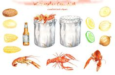 Watercolor crawfish Cliparts by Dora Katona Business Illustration, Pencil Illustration, Graphic Design Illustration, Design Illustrations, Crawfish Pot, Art Party Invitations, How To Make Scrapbook, Creative Sketches, Paint Markers