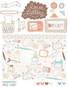 Love Letters Scrapbook Kit | Angie Sandy Art Licensing & Design #illustration #scrapbook