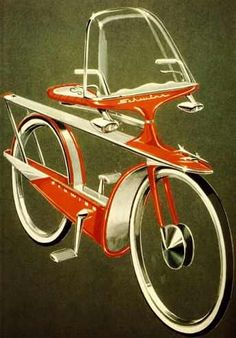 """atomic-flash: """"Schwinn's futuristic aero-space concept bike design, about 1 … - Vintage and Retro Cars Velo Retro, Velo Vintage, Retro Bike, Vintage Bicycles, Old Bicycle, Bicycle Art, Old Bikes, Bicycle Design, Velo Beach Cruiser"""