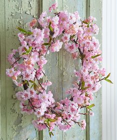Beautiful Cherry Blossom Wreath. Look for This and Many More Realistic Floral's in Our up and Coming 2019 Spring Line.