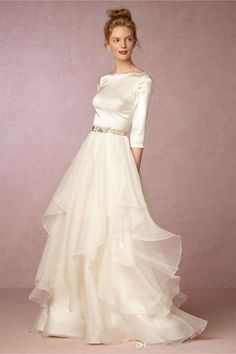2016 Fall Top & Skirt Wedding Dresses Bhldn With 3/4 Long Sleeves And V Back Soft Satin Tiered Organza Ivory Bridal Gowns Custom Made Wedding Dresses Sale Wedding Dresses Vintage From Uniquebridalboutique, $137.88| Dhgate.Com