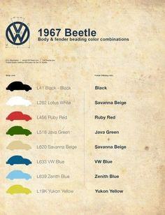 Combinación de colores carrocería-galones del VW typ 1 para 1967.-