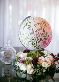 Go on adventures with me wedding globe Barn Wedding Centerpieces, Wedding Table Decorations, Flower Centerpieces, Banquet, Wedding Preparation, Floating Candles, Travel Themes, Simple Weddings, Wedding Locations
