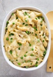 This Chicken Alfredo Pasta Bake recipe requires only 6 ingredients and is ready to eat in about a half an hour! Perfect for busy weeknights.