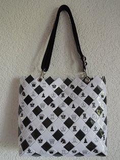 Recycling, Taschen, Flechttasche, upcycling, Zeitschriften, candy wrapper, Schach