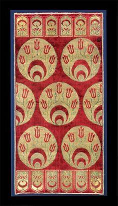 Cushion cover, voided & brocaded silk velvet.   Bursa, Turkey, 1625-1650.