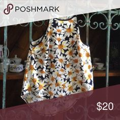 """LF RUMOR BOUTIQUE BLOUSE Details: Lovely spring flowers of gold, and yellow on navy and white. Longer length in the back.  100% Poly Size S Measures 23"""" from top of strap to bottom of hem Flawless (hand washed and worn once) LF Rumor Boutique  Tops Blouses"""