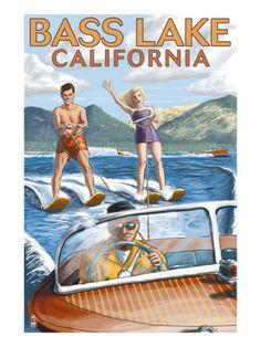 Bass Lake CA | Bass Lake, California - Water Skiing, c.2009 Prints by Lantern Press ...