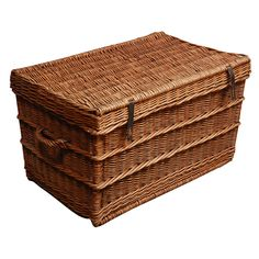 Vintage French Wicker Trunk With Lid   Stuff With Comfy Quilts For Those  Cool Summer Nights