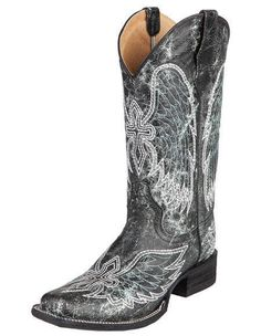 Circle G Womens Green/Black Crackle Wing & Cross Embroidered Cowgirl Boot - 7 #CircleG #CowboyWestern