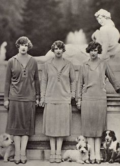 Princess Irene of Greece (Duchess of Aosta); Princess Helen of Romania (born Princess Helen of Greece; Queen Mother of Romania); and the Countess of Törring-Jettenbach (born Princess Elizabeth of Greece), 1934