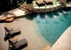 Zero Entry Pool, Beach Entry Pool, Beach Pool, Pool Spa, Backyard Pool Designs, Small Backyard Pools, Swimming Pools Backyard, Backyard Ideas, Pool Landscaping