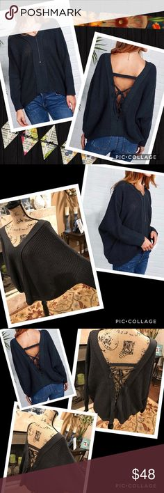 Laced backless sweater Laced backless, slouchy, batwing sweater. Size small through medium to med/large suggested. Not plus size.  Unique and sexy! Boho. My Boutique, brand new. Similar: urban outfitter, anthropologie, free people, brandy Melville, for love and lemons, stone cold fox, one teaspoon, topshop, nasty gal, reformation, Zara, april spirit, rag & bone, fashionomics, ASOS, miss me, Rebecca minkoff gypsi's Sweaters