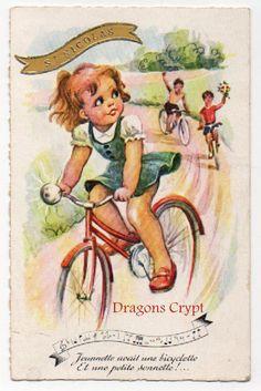 Carte postale ancienne - Illustrateur - Jeunnette avait une bicyclette