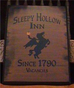 Primitive Sleepy Hollow Inn Sign Headless Horseman New York Folk Art Halloween Decorations Pumpkinhead Jack Spooky Witches
