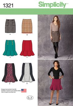 Look sharp in a pencil skirt, a flounce skirt or a flared skirt – all created with Simplicity sewing pattern 1321.