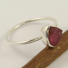 Sterling Silver Wire Wrap Pink Tourmaline Ring Handmade Size N