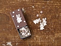 64 pieces of cute Japanese rabbit stickers in a super cute Matchbox.    Stickers are ready to use, simply peel and stick.