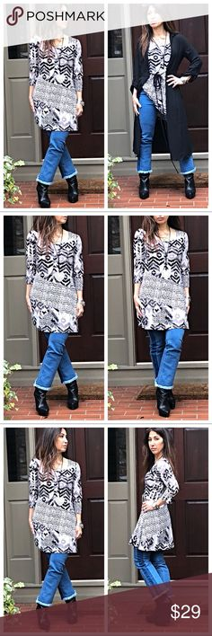 Black print swing tunic/dress Slinky rayon 3/4 sleeves modern print scooped neck tunic dress this can be worn as a dress or a tunic top looks great with leggings also Bust measurements laying flat on one side S 17 M 18 L19 XL 19.5 Length S 32 M33 L 34 XL34.5 Tops Tunics