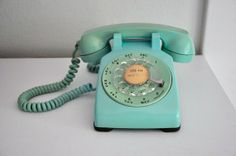 vintage tablecloths from the 40's and 50's   Vintage Phone Western Electric Bell System Aqua by CardinalCache
