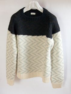 color block wool sweater: black and aqua/cream chevron (i need a knitter friend to make this for me!)