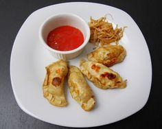 Ravioli cinesi di verdure alla piastra con salsa agrodolce e germogli di soia saltati
